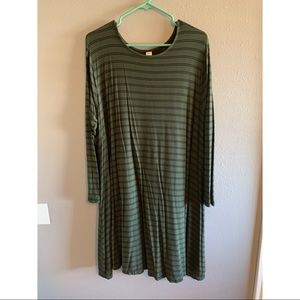 Green and Black striped swing dress